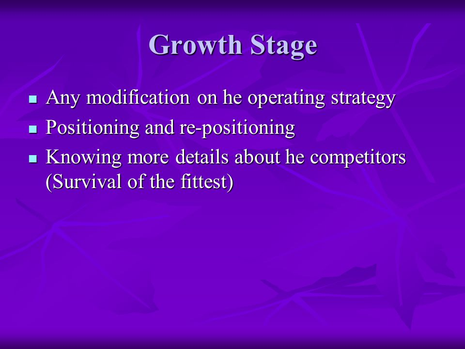 Growth Stage Any modification on he operating strategy Any modification on he operating strategy Positioning and re-positioning Positioning and re-positioning Knowing more details about he competitors (Survival of the fittest) Knowing more details about he competitors (Survival of the fittest)