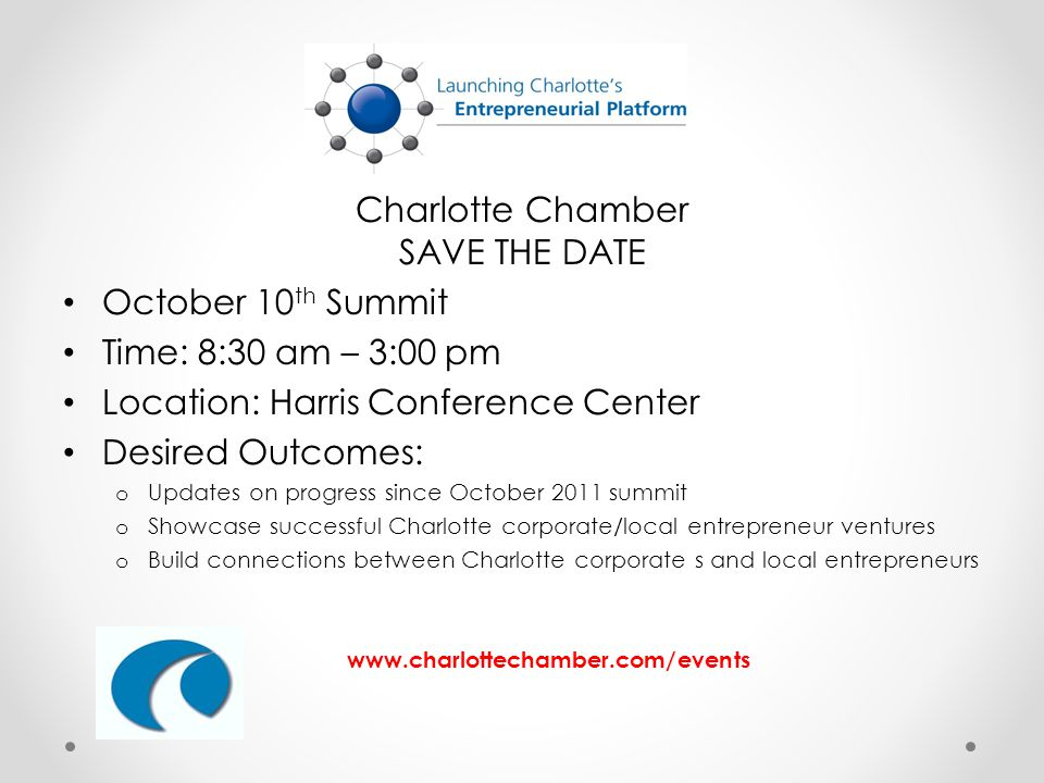 Charlotte Chamber SAVE THE DATE October 10 th Summit Time: 8:30 am – 3:00 pm Location: Harris Conference Center Desired Outcomes: o Updates on progress since October 2011 summit o Showcase successful Charlotte corporate/local entrepreneur ventures o Build connections between Charlotte corporate s and local entrepreneurs www.charlottechamber.com/events