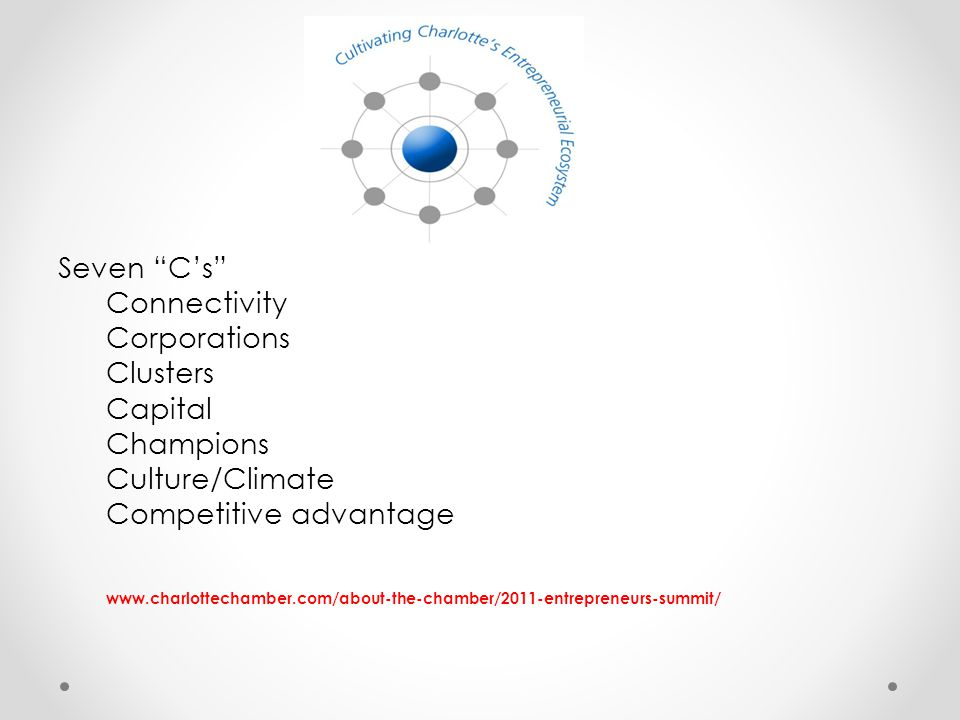Seven C's Connectivity Corporations Clusters Capital Champions Culture/Climate Competitive advantage www.charlottechamber.com/about-the-chamber/2011-entrepreneurs-summit/