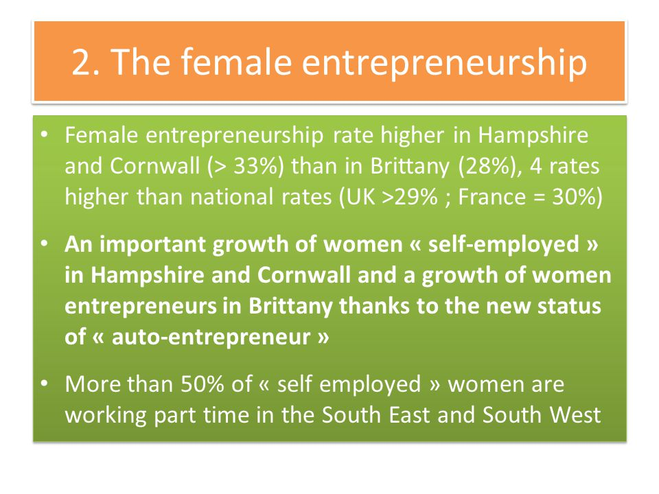 2. The female entrepreneurship Female entrepreneurship rate higher in Hampshire and Cornwall (> 33%) than in Brittany (28%), 4 rates higher than natio
