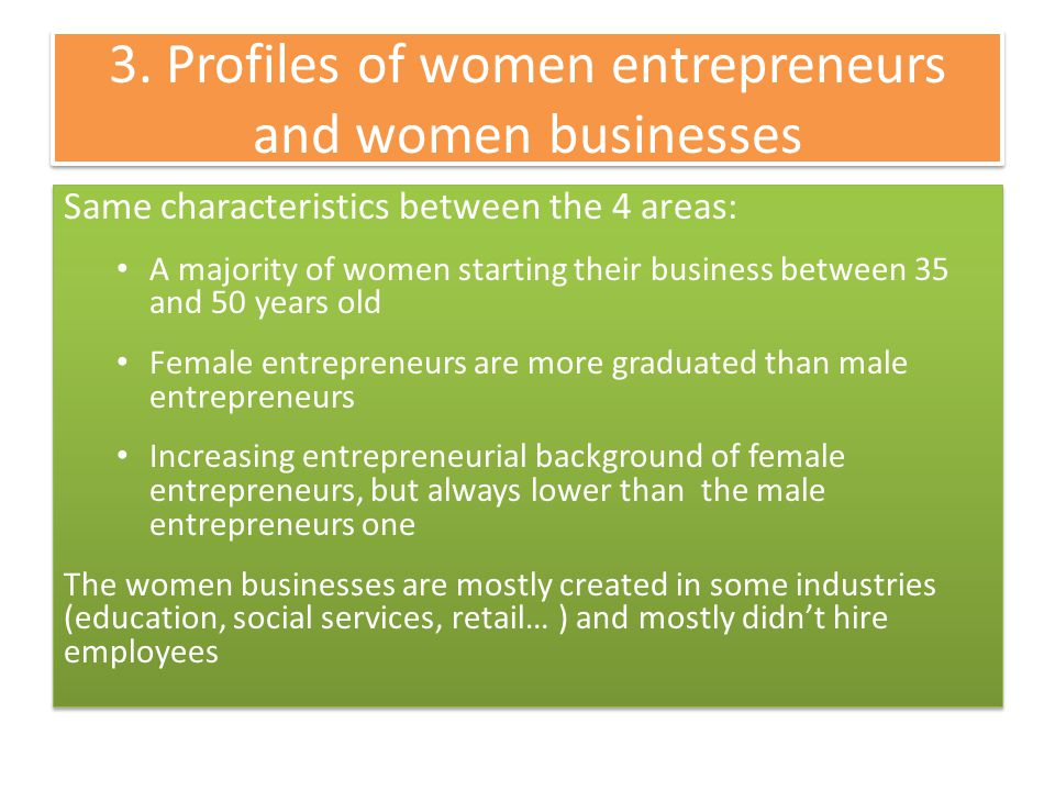 3. Profiles of women entrepreneurs and women businesses Same characteristics between the 4 areas: A majority of women starting their business between