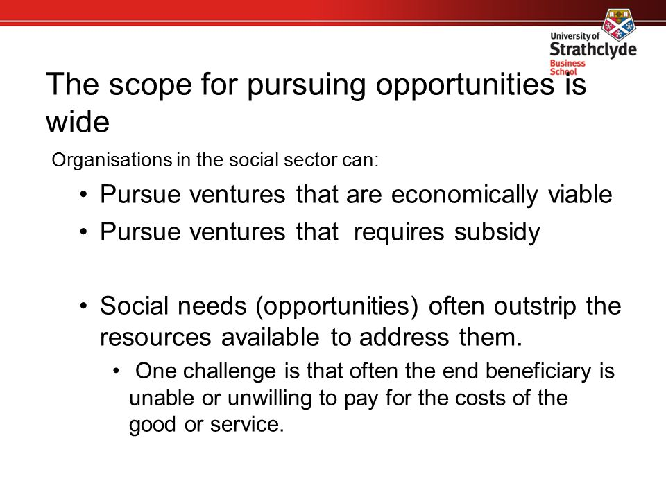 The scope for pursuing opportunities is wide Organisations in the social sector can: Pursue ventures that are economically viable Pursue ventures that