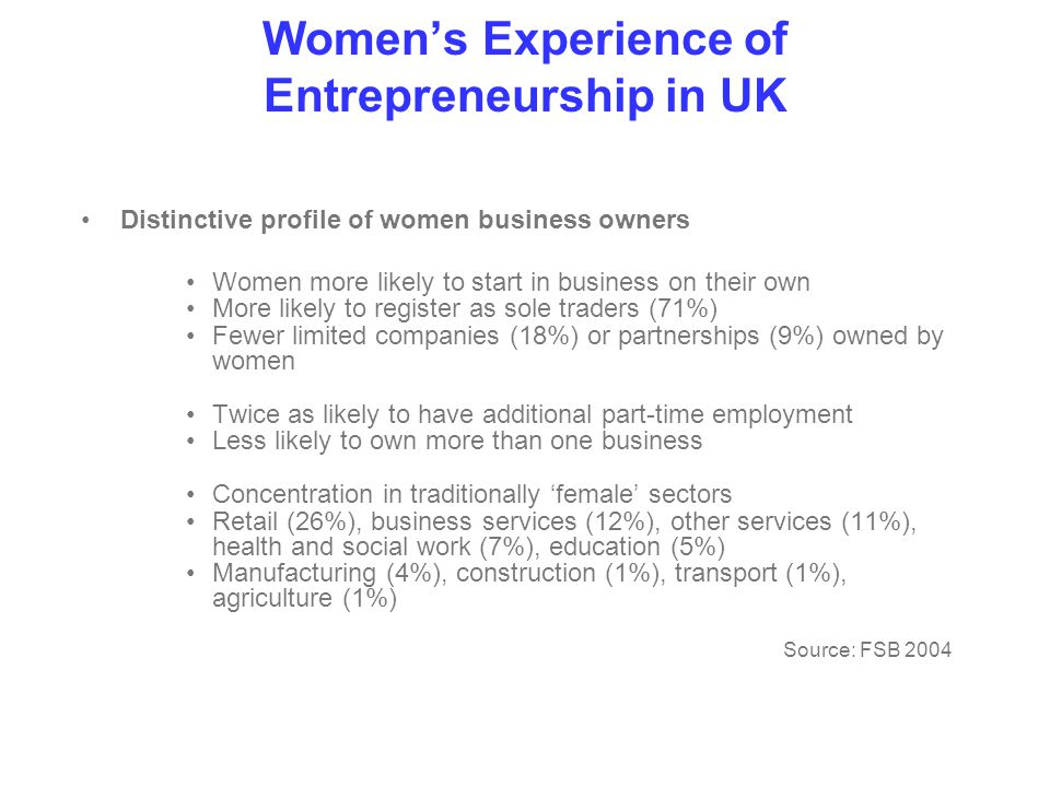 Women's Experience of Entrepreneurship in UK Distinctive profile of women business owners Women more likely to start in business on their own More likely to register as sole traders (71%) Fewer limited companies (18%) or partnerships (9%) owned by women Twice as likely to have additional part-time employment Less likely to own more than one business Concentration in traditionally 'female' sectors Retail (26%), business services (12%), other services (11%), health and social work (7%), education (5%) Manufacturing (4%), construction (1%), transport (1%), agriculture (1%) Source: FSB 2004