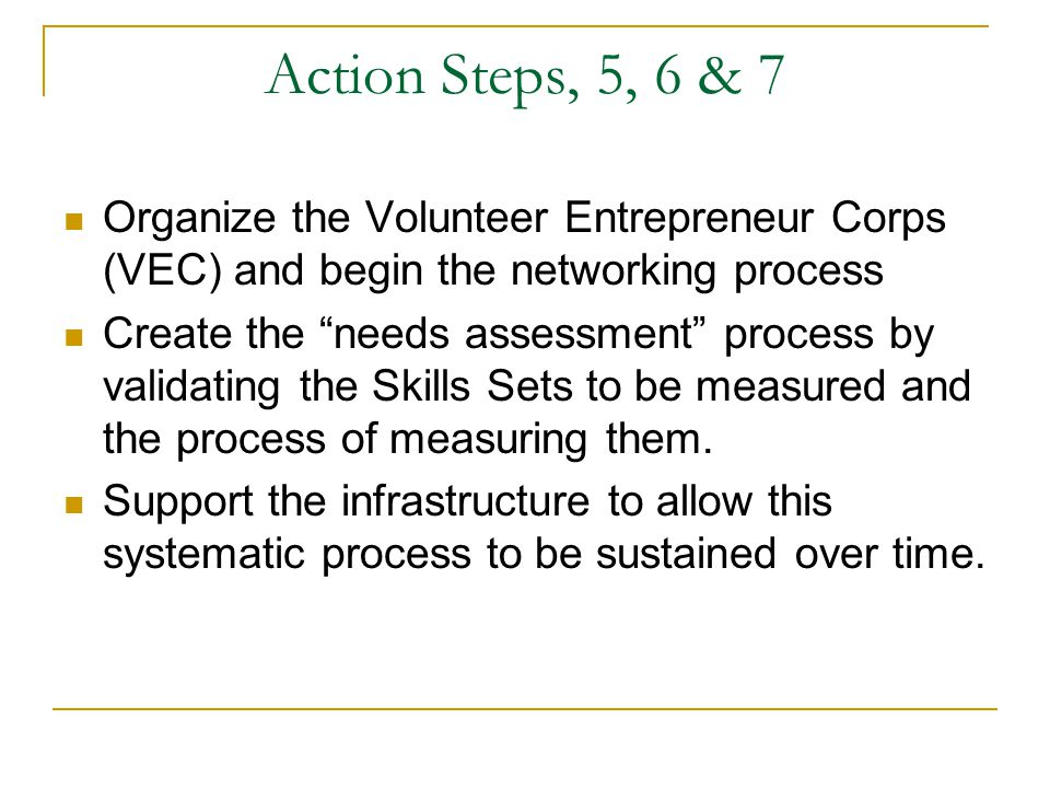 Action Steps, 5, 6 & 7 Organize the Volunteer Entrepreneur Corps (VEC) and begin the networking process Create the needs assessment process by validating the Skills Sets to be measured and the process of measuring them.