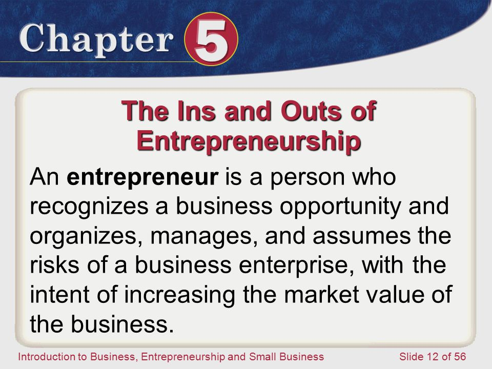 Introduction to Business, Entrepreneurship and Small Business Slide 12 of 56 The Ins and Outs of Entrepreneurship An entrepreneur is a person who recognizes a business opportunity and organizes, manages, and assumes the risks of a business enterprise, with the intent of increasing the market value of the business.