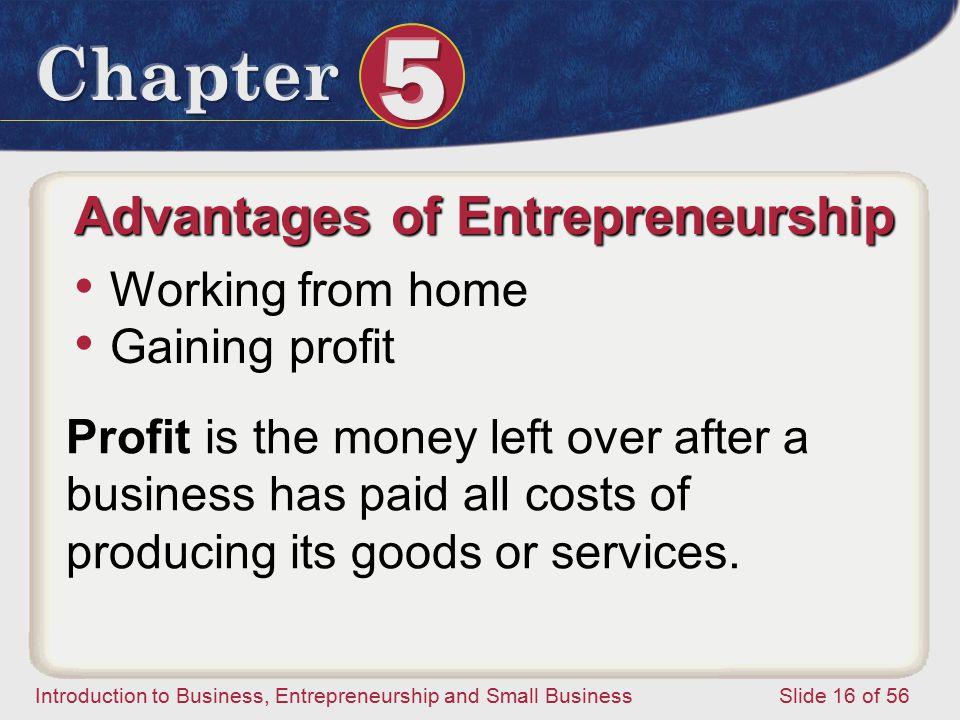 Introduction to Business, Entrepreneurship and Small Business Slide 16 of 56 Advantages of Entrepreneurship Working from home Gaining profit Profit is the money left over after a business has paid all costs of producing its goods or services.