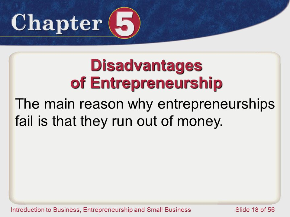 Introduction to Business, Entrepreneurship and Small Business Slide 18 of 56 Disadvantages of Entrepreneurship The main reason why entrepreneurships fail is that they run out of money.