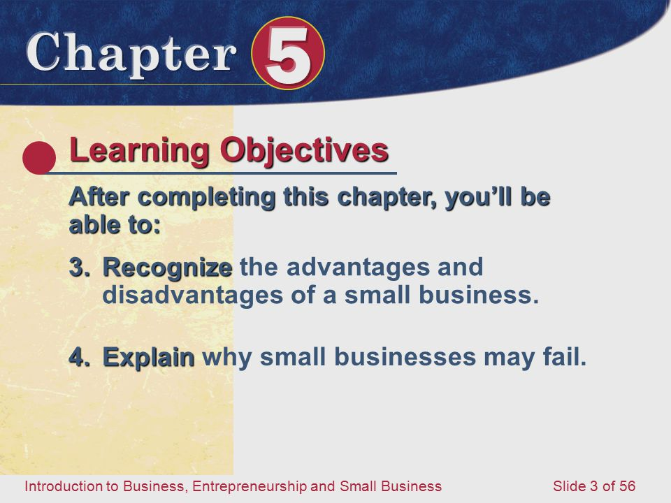 Introduction to Business, Entrepreneurship and Small Business Slide 3 of 56 Learning Objectives After completing this chapter, you'll be able to: 3.Recognize 3.Recognize the advantages and disadvantages of a small business.