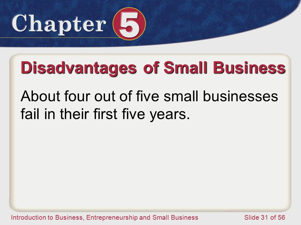 Introduction to Business, Entrepreneurship and Small Business Slide 31 of 56 About four out of five small businesses fail in their first five years.