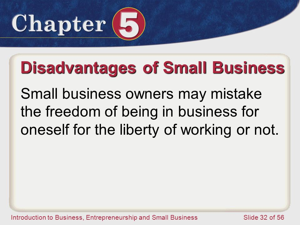 Introduction to Business, Entrepreneurship and Small Business Slide 32 of 56 Small business owners may mistake the freedom of being in business for oneself for the liberty of working or not.