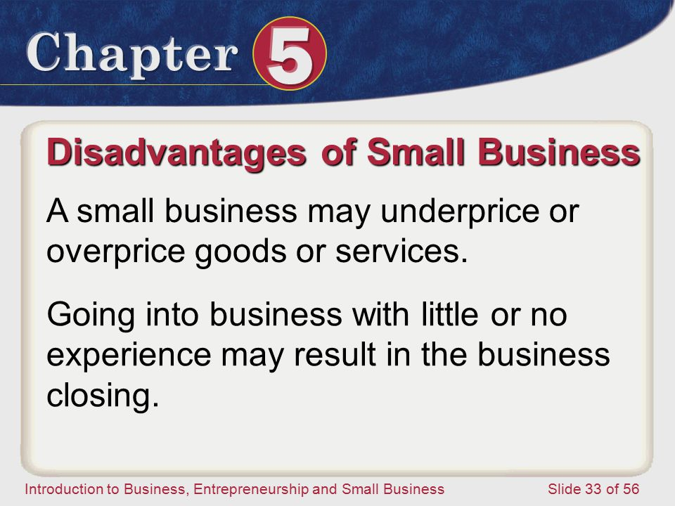 Introduction to Business, Entrepreneurship and Small Business Slide 33 of 56 A small business may underprice or overprice goods or services.