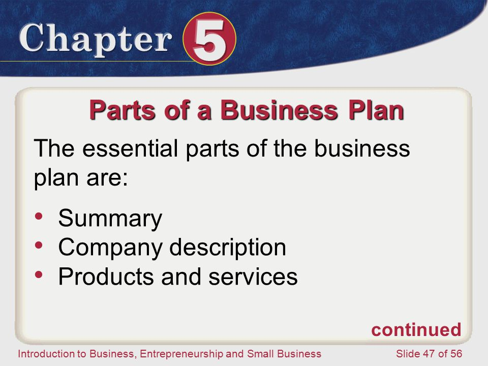 Introduction to Business, Entrepreneurship and Small Business Slide 47 of 56 Parts of a Business Plan The essential parts of the business plan are: Summary Company description Products and services continued