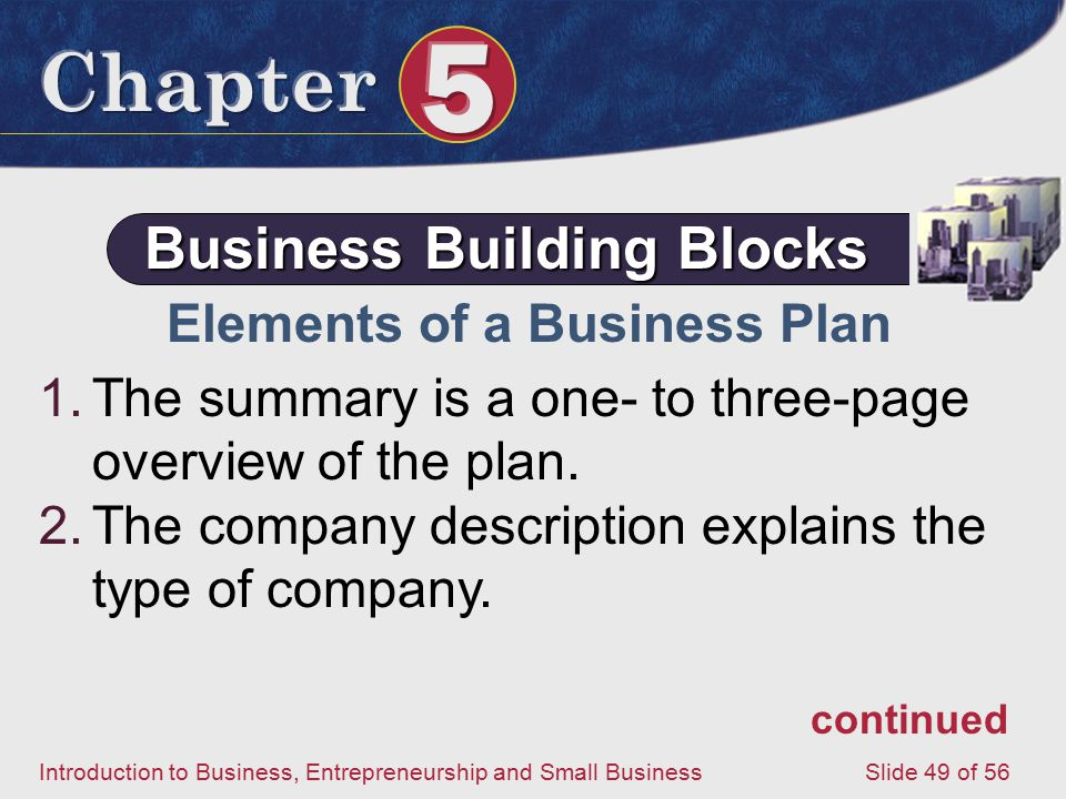 Introduction to Business, Entrepreneurship and Small Business Slide 49 of 56 Elements of a Business Plan 1.The summary is a one- to three-page overview of the plan.