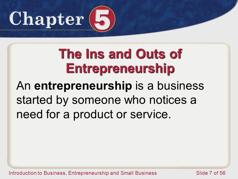 Introduction to Business, Entrepreneurship and Small Business Slide 7 of 56 An entrepreneurship is a business started by someone who notices a need for a product or service.