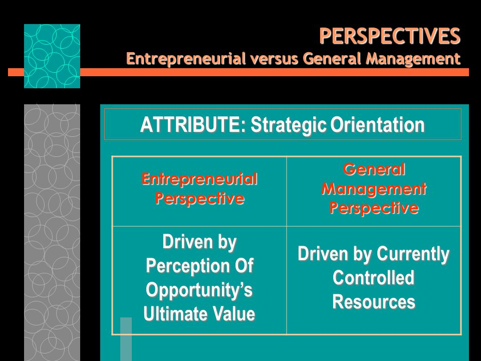 PERSPECTIVES Entrepreneurial versus General Management ATTRIBUTE: Strategic Orientation Entrepreneurial Perspective General Management Perspective Driven by Perception Of Opportunity's Ultimate Value Driven by Currently Controlled Resources