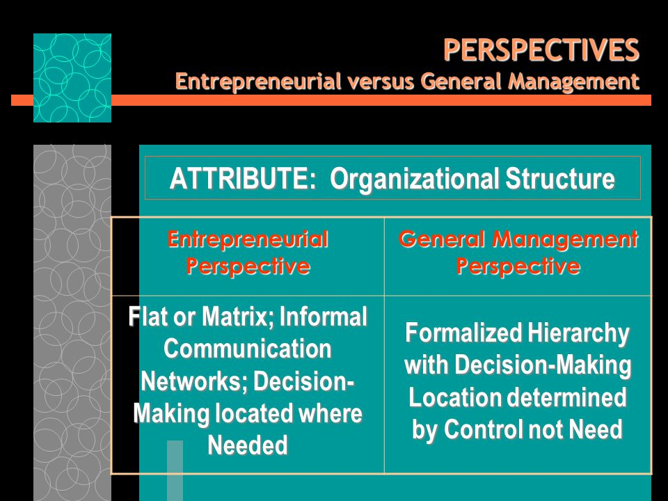 PERSPECTIVES Entrepreneurial versus General Management ATTRIBUTE: Organizational Structure Entrepreneurial Perspective General Management Perspective