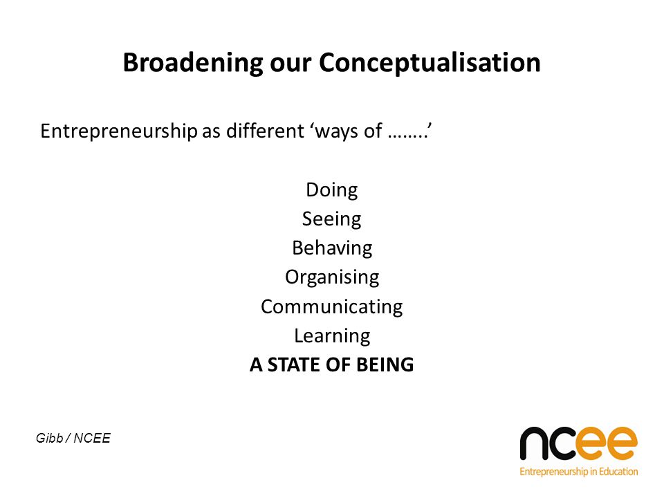 Broadening our Conceptualisation Entrepreneurship as different 'ways of ……..' Doing Seeing Behaving Organising Communicating Learning A STATE OF BEING Gibb / NCEE