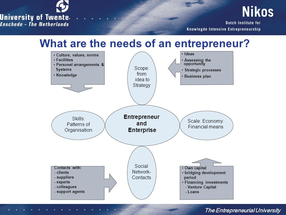 The Entrepreneurial University Contacts with: - clients - suppliers - experts - colleagues - support agents What are the needs of an entrepreneur? Ide