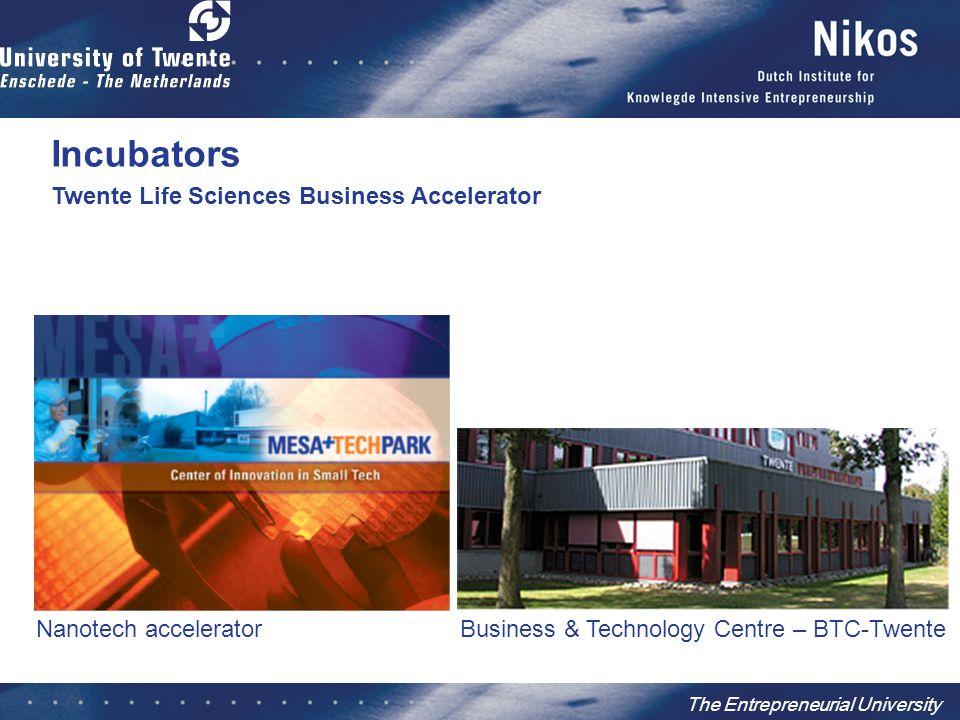The Entrepreneurial University Business & Technology Centre – BTC-Twente Nanotech accelerator Twente Life Sciences Business Accelerator Incubators