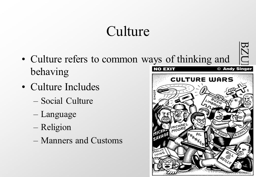 BZUPAGES.COM Culture Culture refers to common ways of thinking and behaving Culture Includes –Social Culture –Language –Religion –Manners and Customs