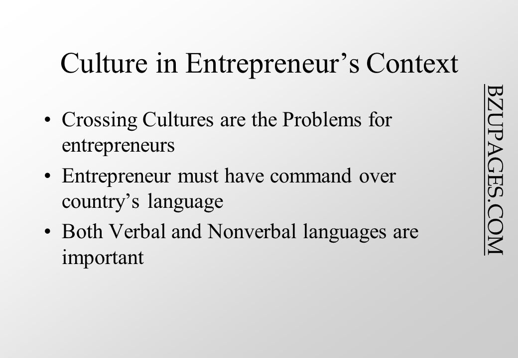 BZUPAGES.COM Culture in Entrepreneur's Context Crossing Cultures are the Problems for entrepreneurs Entrepreneur must have command over country's language Both Verbal and Nonverbal languages are important