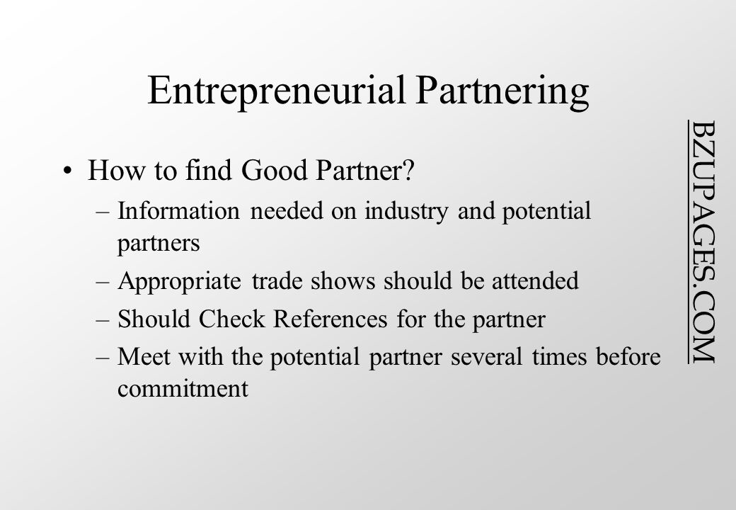 BZUPAGES.COM Entrepreneurial Partnering How to find Good Partner.