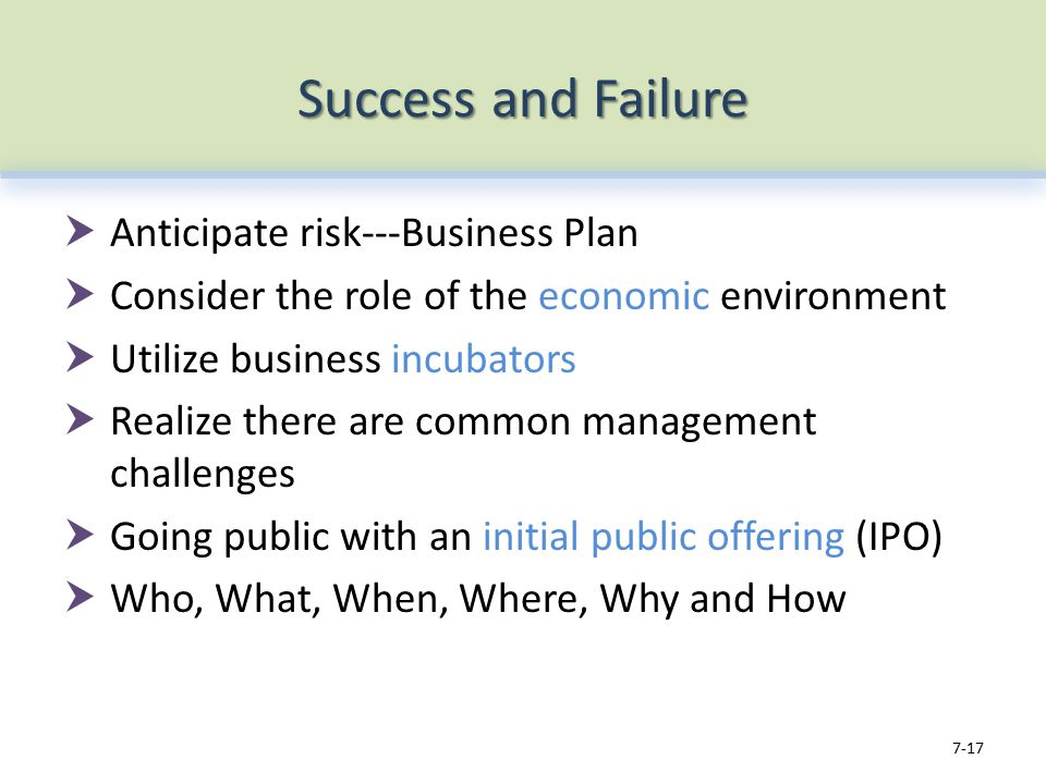 Success and Failure  Anticipate risk---Business Plan  Consider the role of the economic environment  Utilize business incubators  Realize there are common management challenges  Going public with an initial public offering (IPO)  Who, What, When, Where, Why and How 7-17