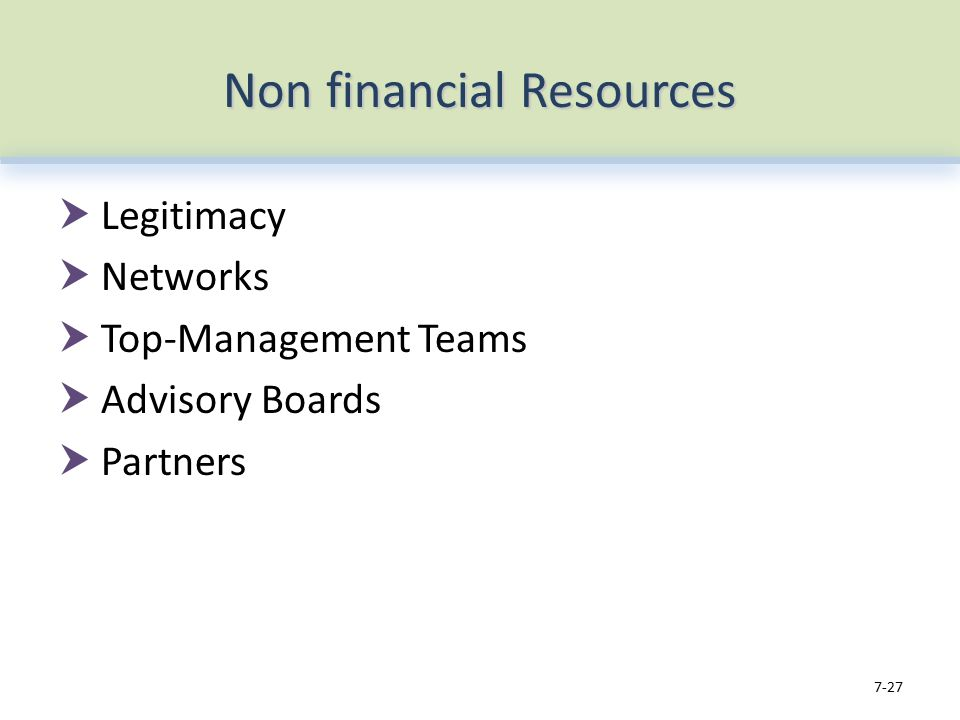 Non financial Resources  Legitimacy  Networks  Top-Management Teams  Advisory Boards  Partners 7-27
