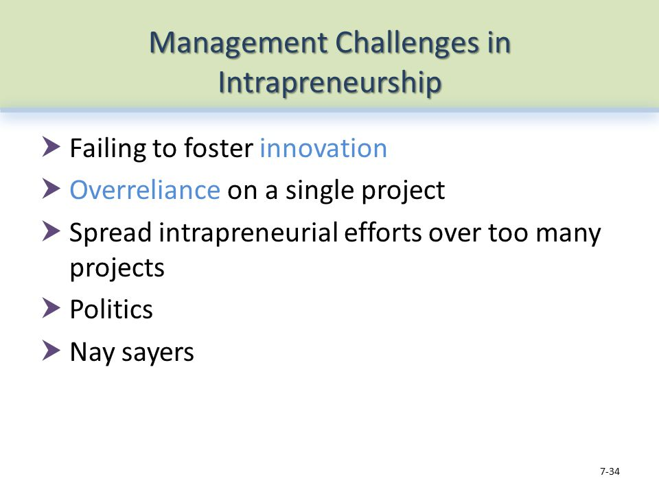Management Challenges in Intrapreneurship  Failing to foster innovation  Overreliance on a single project  Spread intrapreneurial efforts over too many projects  Politics  Nay sayers 7-34