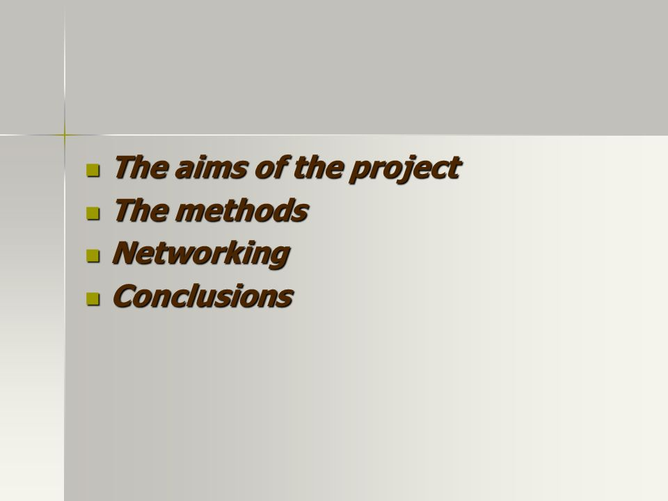 The aims of the project The aims of the project The methods The methods Networking Networking Conclusions Conclusions