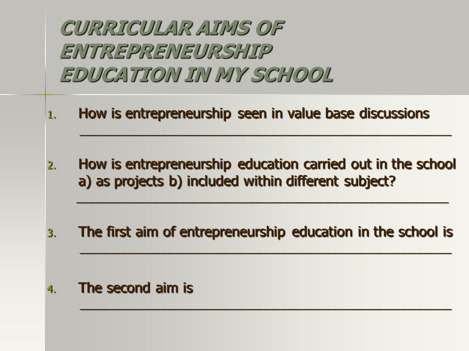CURRICULAR AIMS OF ENTREPRENEURSHIP EDUCATION IN MY SCHOOL 1.