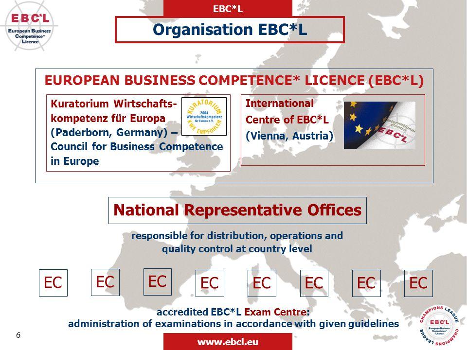 EBC*L www.ebcl.eu International Certificates Training Concepts Champions League Entrepreneurship BM League EBC*L can offer a framework for all existing entrepreneurship programmes EBC*L offers perfect tools to create and spread Entrepreneurship