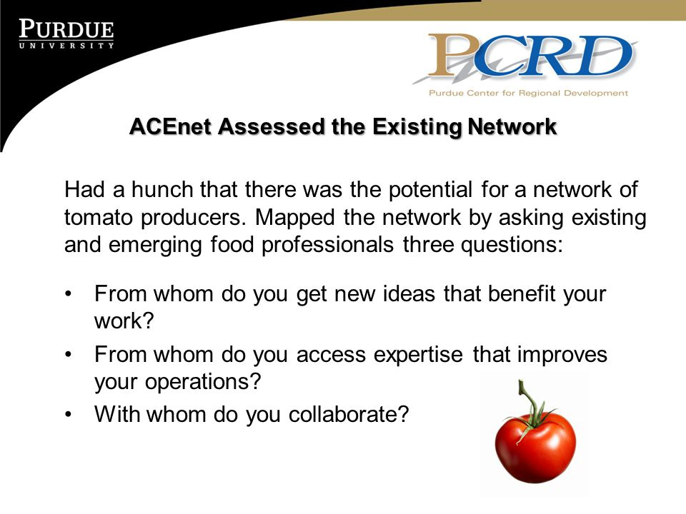 ACEnet Assessed the Existing Network Had a hunch that there was the potential for a network of tomato producers. Mapped the network by asking existing