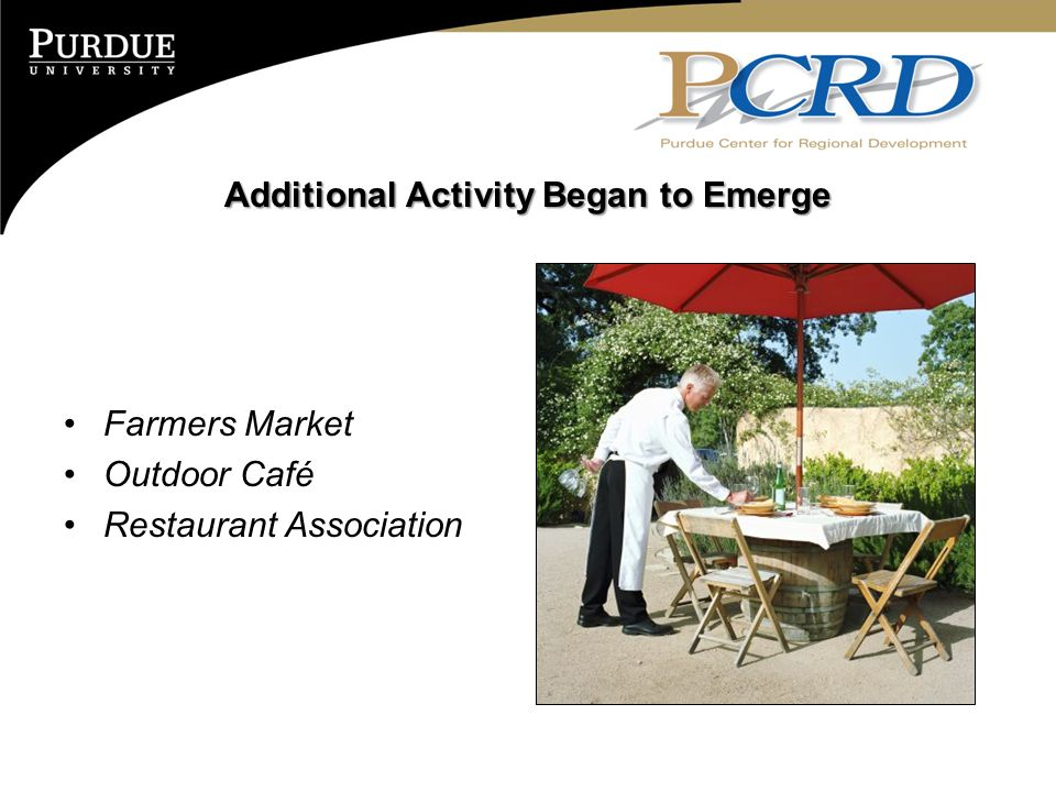 Additional Activity Began to Emerge Farmers Market Outdoor Café Restaurant Association