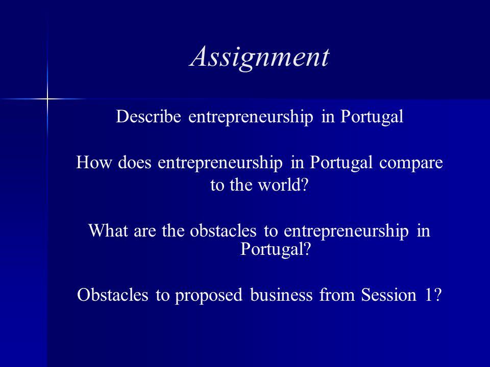 Assignment Describe entrepreneurship in Portugal How does entrepreneurship in Portugal compare to the world.