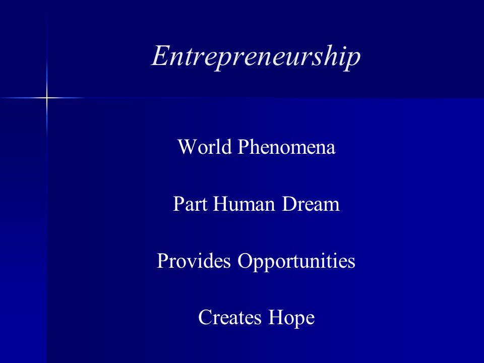Entrepreneurship World Phenomena Part Human Dream Provides Opportunities Creates Hope
