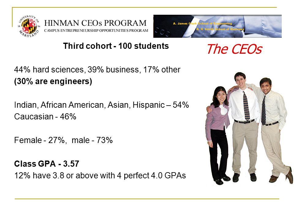 Third cohort - 100 students 44% hard sciences, 39% business, 17% other (30% are engineers) Indian, African American, Asian, Hispanic – 54% Caucasian - 46% Female - 27%, male - 73% Class GPA - 3.57 12% have 3.8 or above with 4 perfect 4.0 GPAs The CEOs