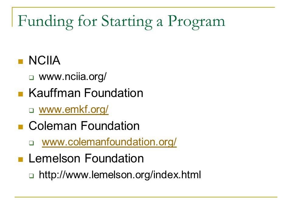 Funding for Starting a Program NCIIA  www.nciia.org/ Kauffman Foundation  www.emkf.org/ www.emkf.org/ Coleman Foundation  www.colemanfoundation.org/www.colemanfoundation.org/ Lemelson Foundation  http://www.lemelson.org/index.html