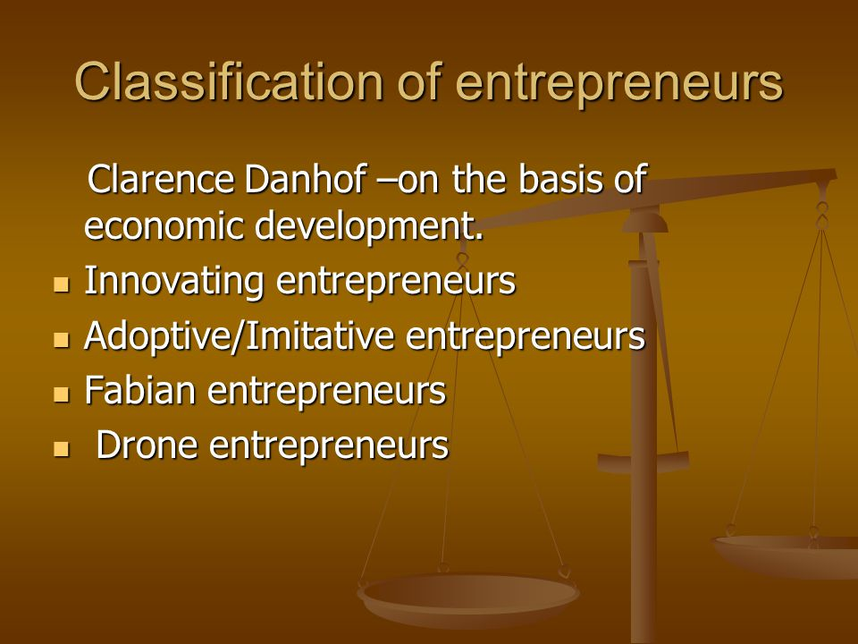 Classification of entrepreneurs Clarence Danhof –on the basis of economic development. Clarence Danhof –on the basis of economic development. Innovati