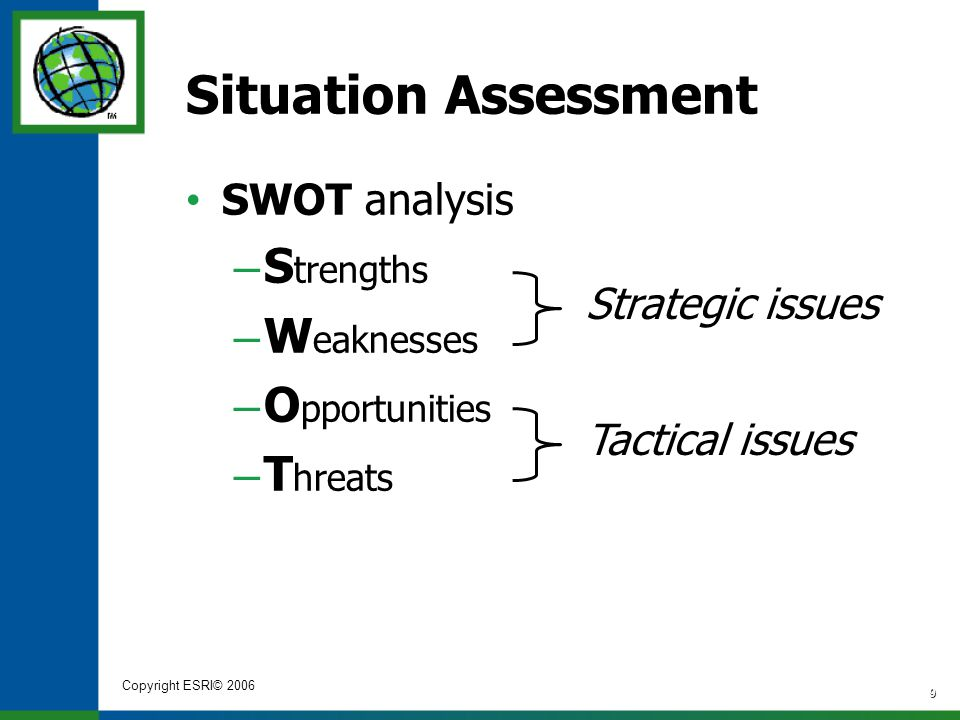 Copyright ESRI© 2006 9 Situation Assessment SWOT analysis – S trengths – W eaknesses – O pportunities – T hreats Strategic issues Tactical issues