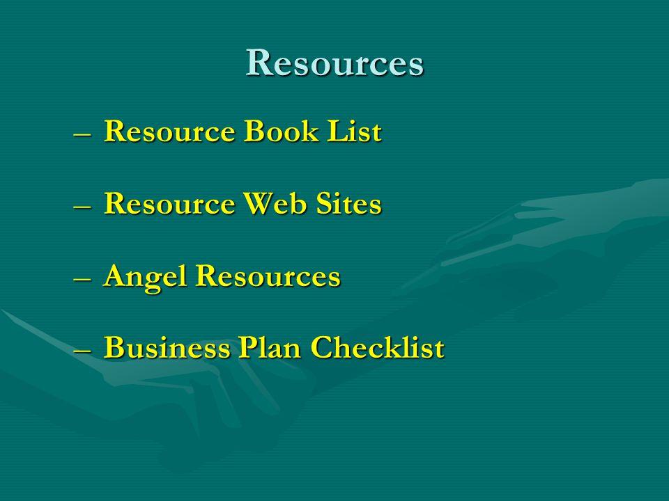 Resources – Resource Book List – Resource Web Sites – Angel Resources – Business Plan Checklist