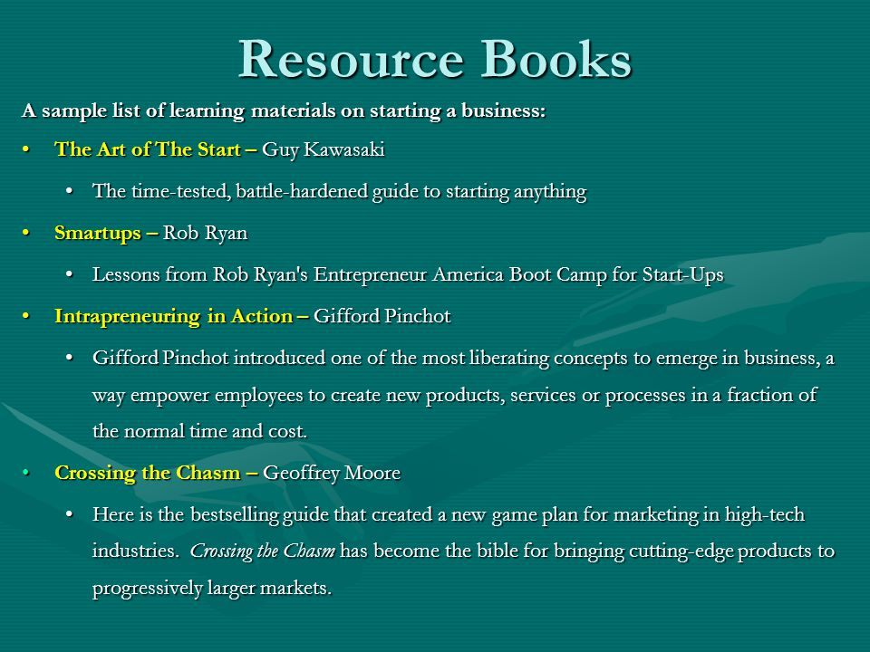 Resource Books A sample list of learning materials on starting a business: The Art of The Start – Guy KawasakiThe Art of The Start – Guy Kawasaki The time-tested, battle-hardened guide to starting anythingThe time-tested, battle-hardened guide to starting anything Smartups – Rob RyanSmartups – Rob Ryan Lessons from Rob Ryan s Entrepreneur America Boot Camp for Start-UpsLessons from Rob Ryan s Entrepreneur America Boot Camp for Start-Ups Intrapreneuring in Action – Gifford PinchotIntrapreneuring in Action – Gifford Pinchot Gifford Pinchot introduced one of the most liberating concepts to emerge in business, a way empower employees to create new products, services or processes in a fraction of the normal time and cost.Gifford Pinchot introduced one of the most liberating concepts to emerge in business, a way empower employees to create new products, services or processes in a fraction of the normal time and cost.