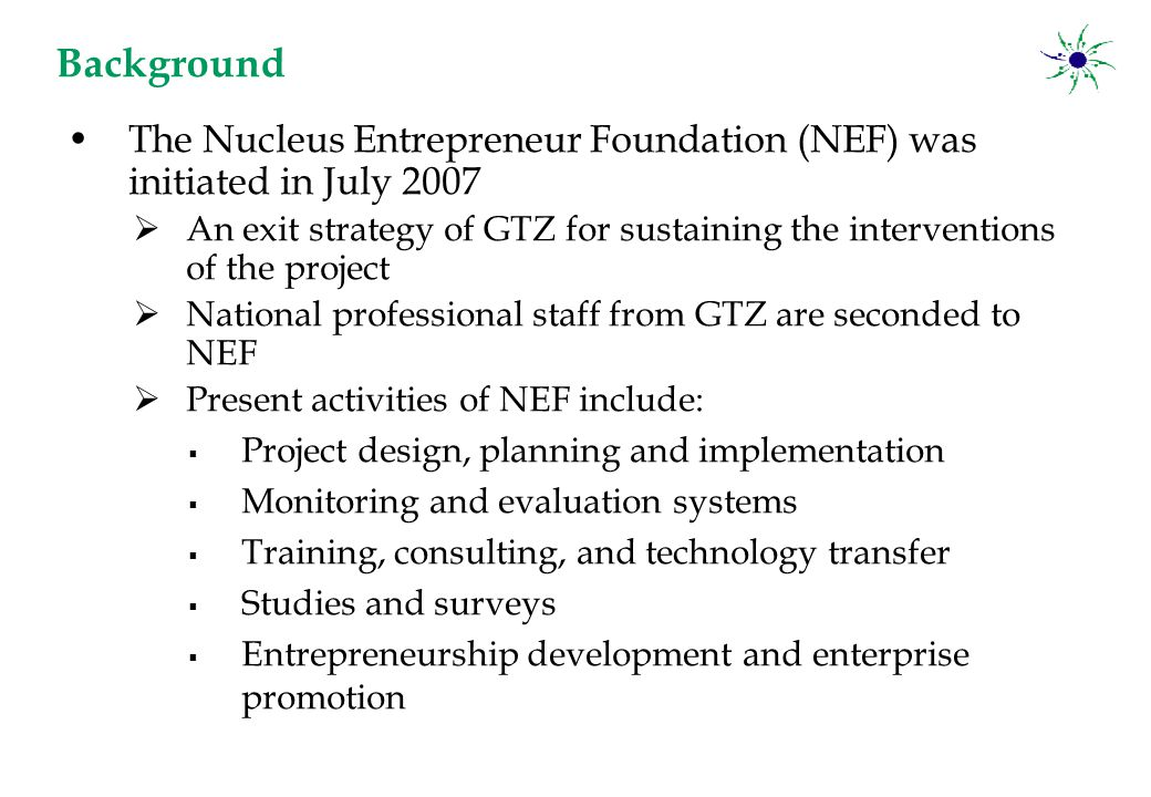 The Nucleus Entrepreneur Foundation (NEF) was initiated in July 2007  An exit strategy of GTZ for sustaining the interventions of the project  National professional staff from GTZ are seconded to NEF  Present activities of NEF include:  Project design, planning and implementation  Monitoring and evaluation systems  Training, consulting, and technology transfer  Studies and surveys  Entrepreneurship development and enterprise promotion Background