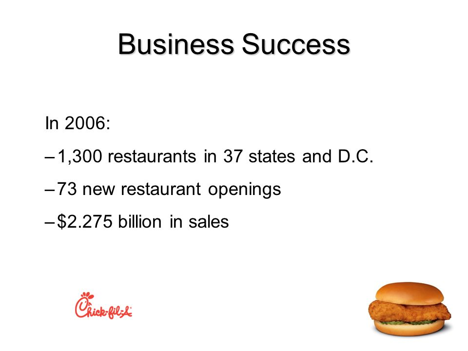 Business Success In 2006: –1,300 restaurants in 37 states and D.C.
