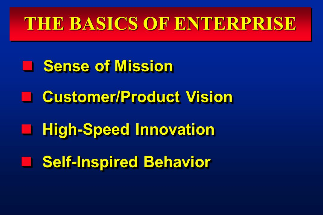 THE BASICS OF ENTERPRISE Customer/Product Vision Customer/Product Vision High-Speed Innovation High-Speed Innovation Self-Inspired Behavior Self-Inspired Behavior Customer/Product Vision Customer/Product Vision High-Speed Innovation High-Speed Innovation Self-Inspired Behavior Self-Inspired Behavior Sense of Mission Sense of Mission