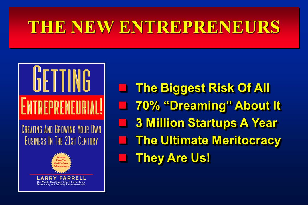 "THE NEW ENTREPRENEURS The Biggest Risk Of All The Biggest Risk Of All 70% ""Dreaming"" About It 70% ""Dreaming"" About It 3 Million Startups A Year 3 Mill"