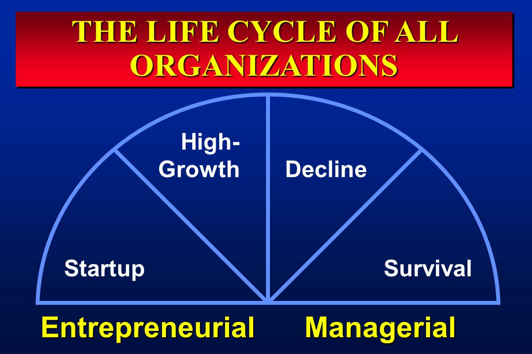 THE LIFE CYCLE OF ALL ORGANIZATIONS Startup High- Growth Decline Survival EntrepreneurialManagerial