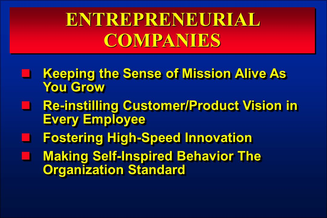 ENTREPRENEURIAL COMPANIES Keeping the Sense of Mission Alive As You Grow Keeping the Sense of Mission Alive As You Grow Re-instilling Customer/Product Vision in Every Employee Re-instilling Customer/Product Vision in Every Employee Fostering High-Speed Innovation Fostering High-Speed Innovation Making Self-Inspired Behavior The Organization Standard Making Self-Inspired Behavior The Organization Standard Keeping the Sense of Mission Alive As You Grow Keeping the Sense of Mission Alive As You Grow Re-instilling Customer/Product Vision in Every Employee Re-instilling Customer/Product Vision in Every Employee Fostering High-Speed Innovation Fostering High-Speed Innovation Making Self-Inspired Behavior The Organization Standard Making Self-Inspired Behavior The Organization Standard