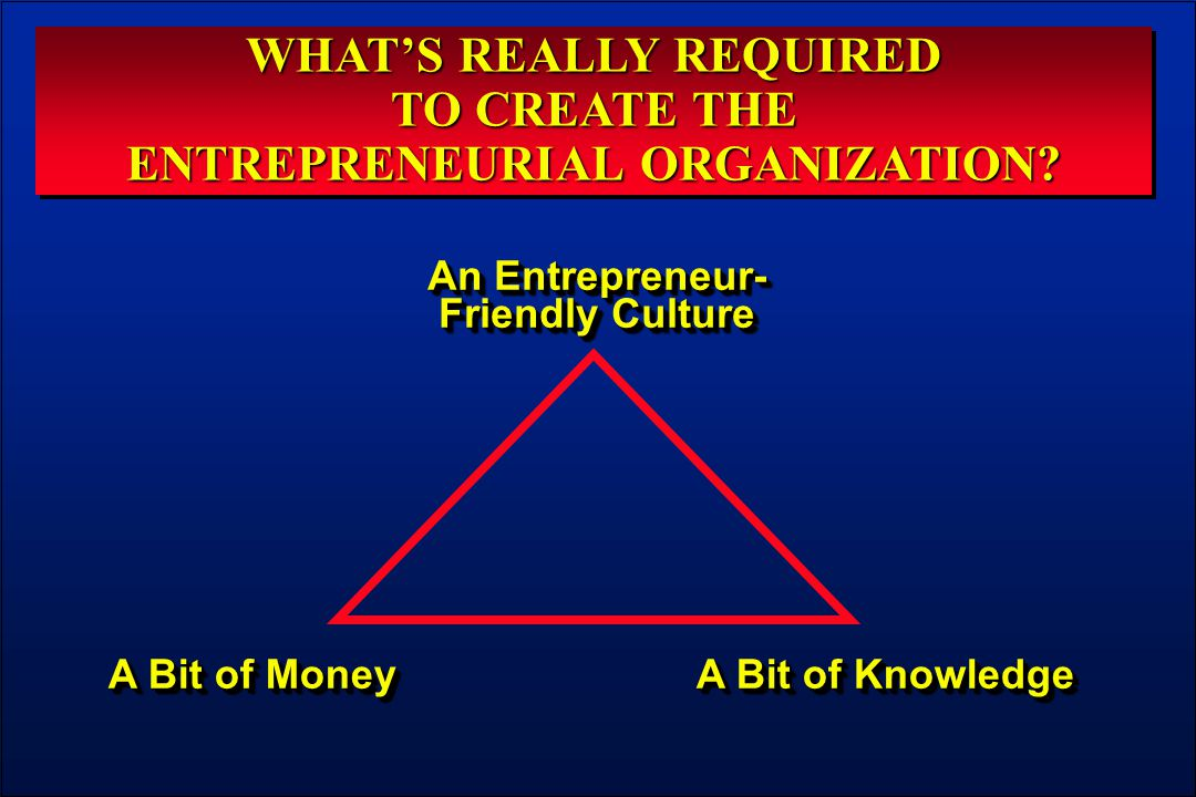 WHAT'S REALLY REQUIRED TO CREATE THE ENTREPRENEURIAL ORGANIZATION? WHAT'S REALLY REQUIRED TO CREATE THE ENTREPRENEURIAL ORGANIZATION? An Entrepreneur-
