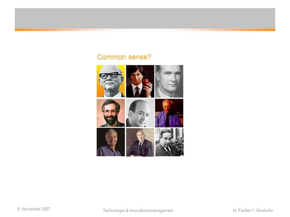5. November 2007 Technologie & Innovationsmanagement M. Fiedler/ I. Strohofer Common sense?